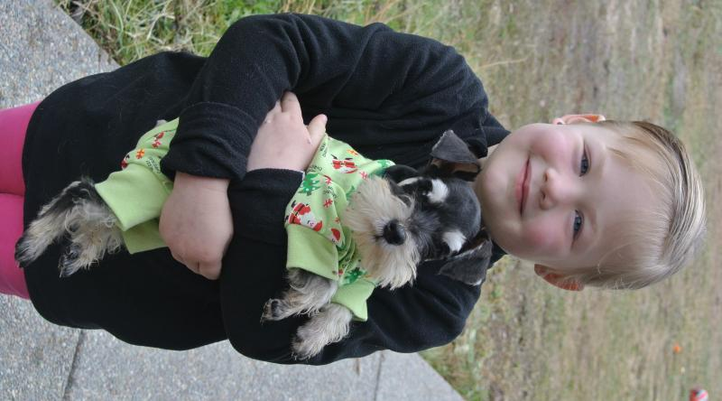 Our granddaughter with her new puppy DUKE!