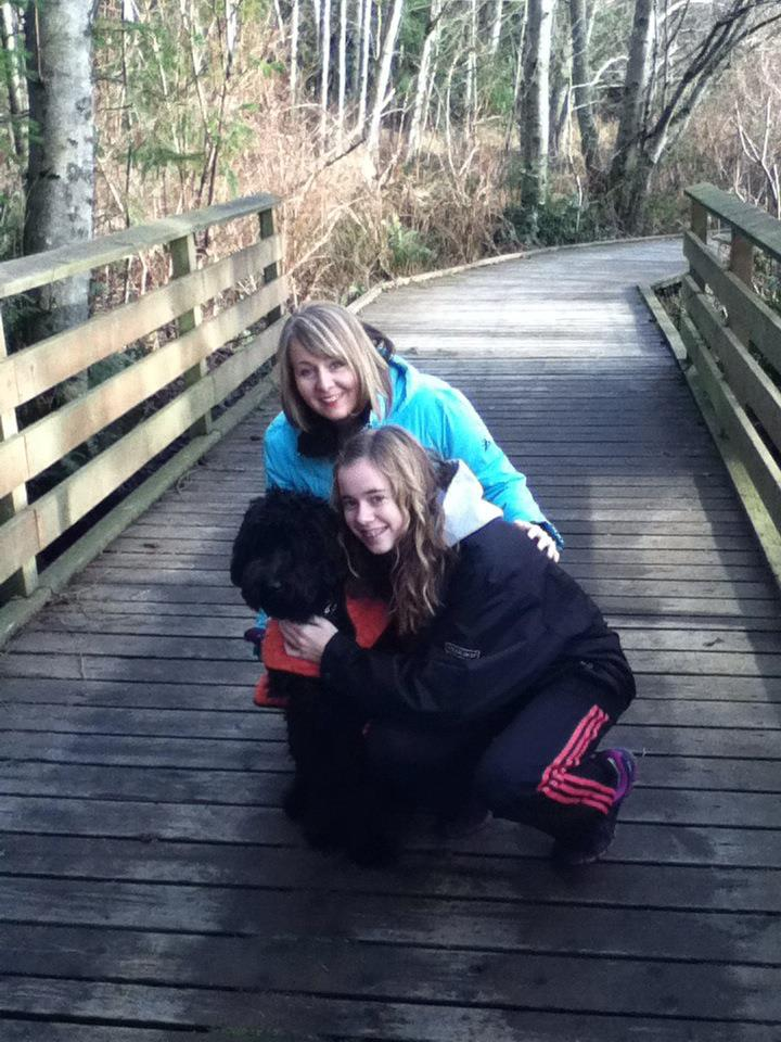 "Sadie with her ""Mom & Sister"" on a walk."